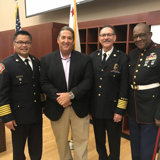 Assemblymember Frazier with Vacaville Fire Chief Kris Concepcion, Retired Fire Chief Brian Preciado, and Veteran of the Year Master Sergent Retired Jesse Branch