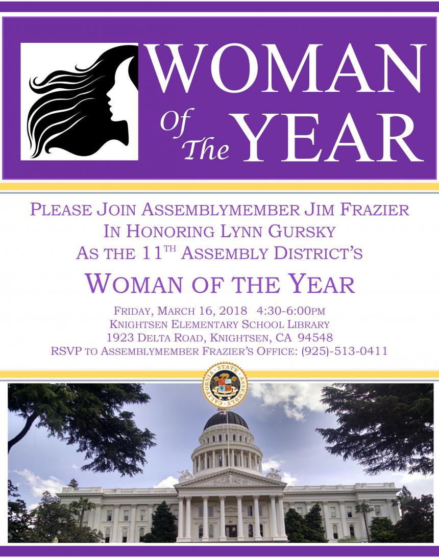 Lynn Gursky Woman of the Year 2018 Flyer