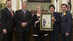 Assemblymember Frazier and AD 11 Woman of the Year, Lynn Gursky with Speaker Rendon, Assemlbymember Eggman, and Assemblymember Brian Dahle